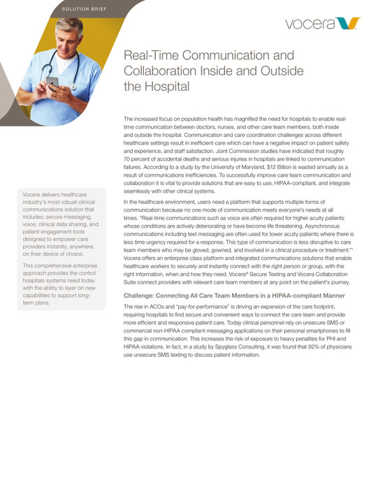 Vocera Secure Texting & Collaboration Suite Solution Brief
