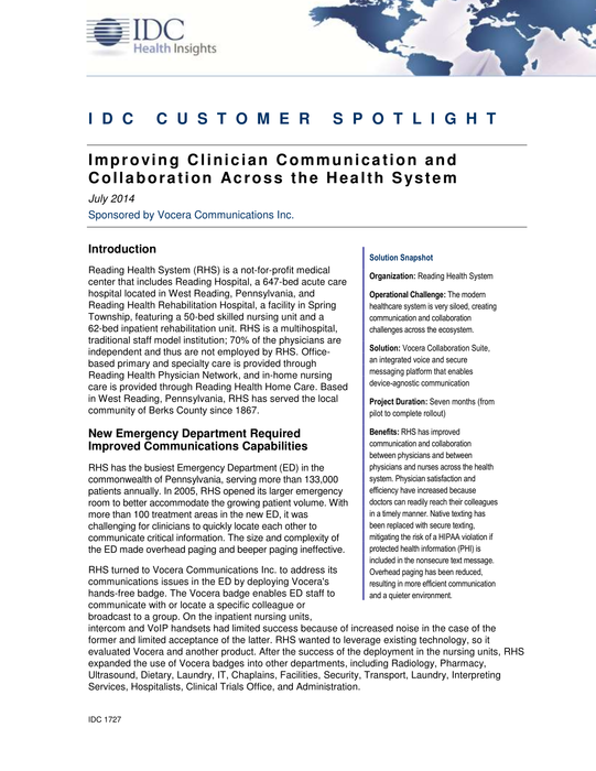 Case Study: Improving Clinician Communication and Collaboration Across Reading Health System